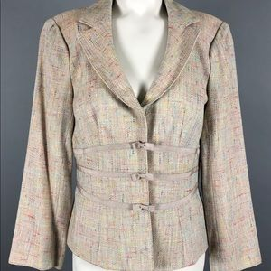 Nanette Lepore Rainbow Tweed Blazer Jacket
